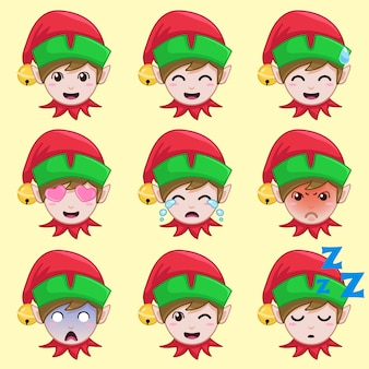 Christmas elf in different emotion.
