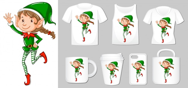 Christmas elf on different types of product template