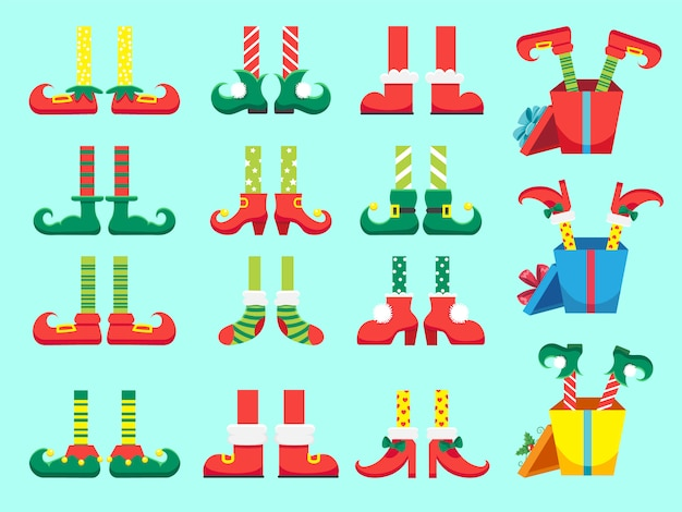 Christmas elf feet. shoes for elves foot, santa claus helpers dwarf leg in pants set