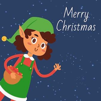 クリスマスのエルフの少女漫画イラスト。メリークリスマスのグリーティングカードまたはポスターの雪の夜に緑のサンタの布でかわいいエルフの女の子と