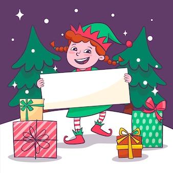 Рождественский эльф держит пустой баннер