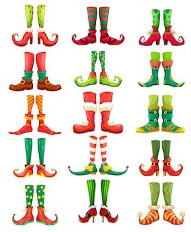 크리스마스 요정, 요정, 산타 발 만화 벡터 세트. xmas 그놈의 다리와 신발, 요정과 난쟁이, 재미있는 다채로운 양말, 스타킹과 부츠, 종과 활을 가진 요정 캐릭터