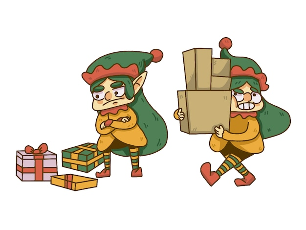 Christmas elf liftng boxes and dropping presents