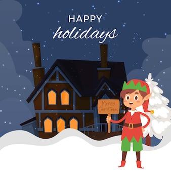 Christmas elf on night winter landscape with cartoon cottage house with light in windowscartoon illustration