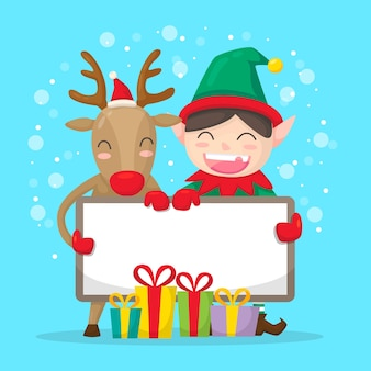 Christmas elf and reindeer holding blank banner