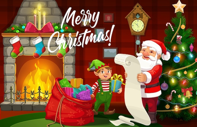 Christmas elf and santa with xmas gifts and wish list design of winter holidays