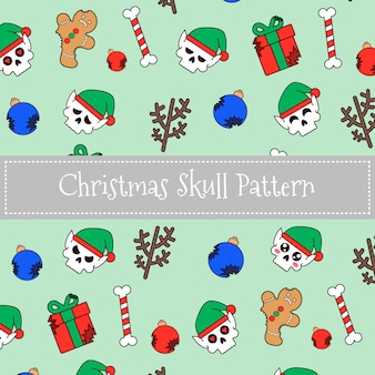 Christmas elf skull pattern