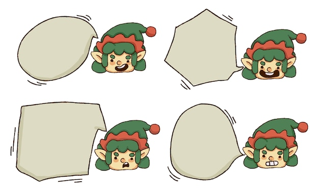 Christmas elf with speech bubble set