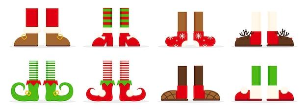 クリスマスのエルフの足メリークリスマスの背景
