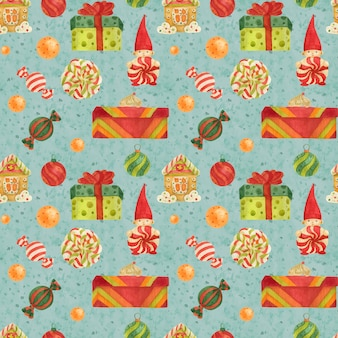 Christmas elves factory pattern with gingerbread and lollipops and gifts on a ligh blue