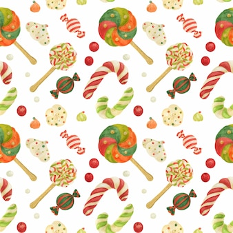 Christmas elves factory seamless pattern with candy canes, lollipops, zefirs and candies