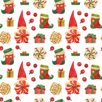 Christmas elves factory seamless pattern with stockings and lollipops