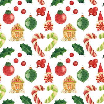 Christmas elves factory seamless watercolor pattern with candy canes, holly and baubles