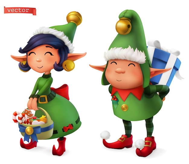 Christmas elves illustration set