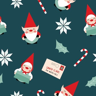 Christmas elves seamless pattern