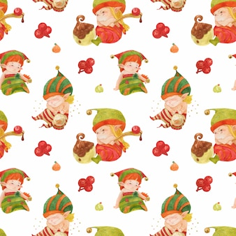 Christmas elves story pattern, baby elves with sweets and crystal ball on a white