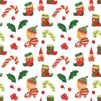 Christmas elves story seamless watercolor pattern with girl elf