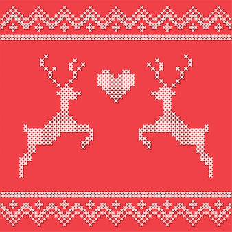 Christmas embroidery cross-stitch with deers. merry christmas greeting card, napkin, poste