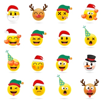 Christmas emoji set. holiday set of christmas face icons with different emotions.