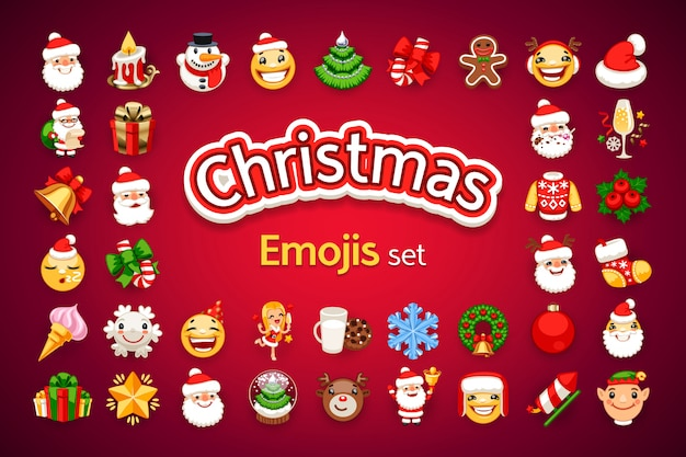 Christmas emojis holiday set