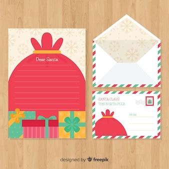 플랫 스타일에서 크리스마스 봉투 및 편지 개념