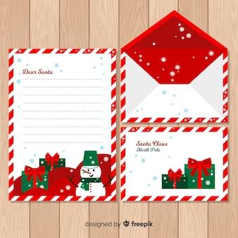 Christmas envelope flat snowman template