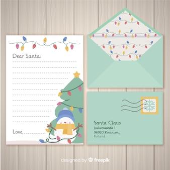 Busta di natale e design della lettera