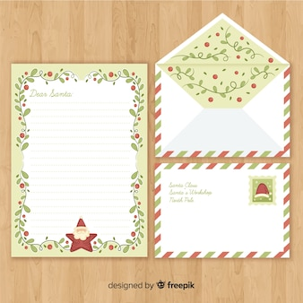 Christmas envelope and letter in hand drawn style