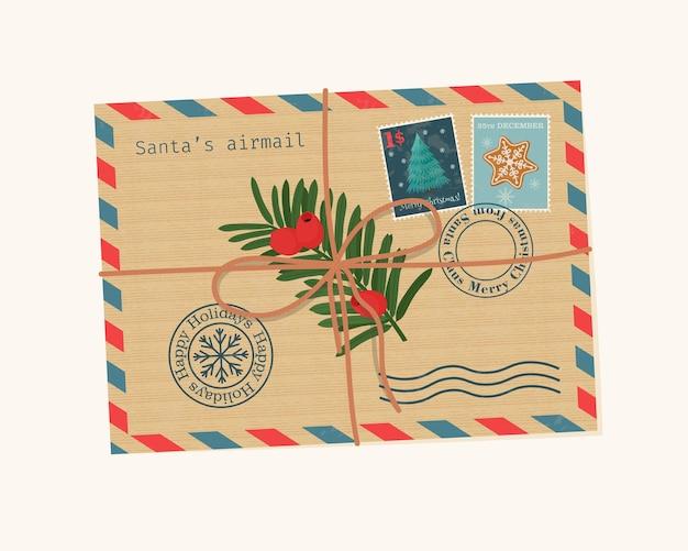 ロープで結ばれたシール、切手、イチイの枝が付いたクリスマスの封筒。かわいいベクトルイラスト