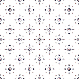 Christmas ethnic seamless pattern with geometric snowflakes isolated on white background.