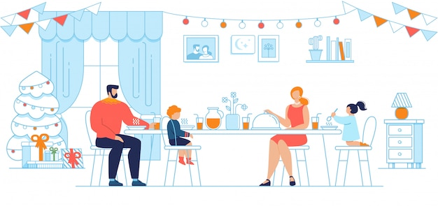 Christmas eve family dinner flat concept