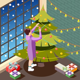 Сочельник в уютном домашнем интерьере изометрии с женским лицом, украшающим праздничную елку