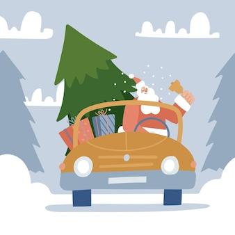 クリスマスイブのシーン幸せなサンタクロースが大きなモミの木と贈り物を持って赤い車で休日に運転しています...