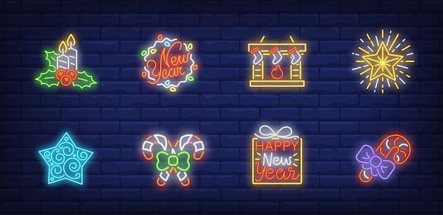 ネオンスタイルで設定されたクリスマスイブのシンボル