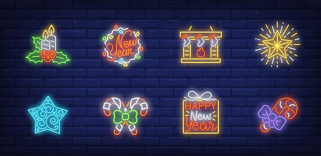 Christmas eve symbols set in neon style