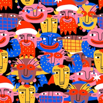 Christmas face psychedelic vibrant pattern