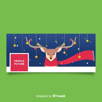 Christmas facebook cover flat reindeer