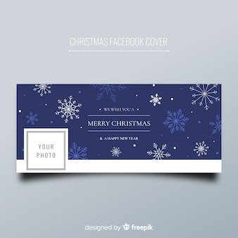 Christmas facebook cover flat snowflakes