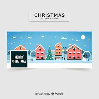 Christmas facebook cover flat town