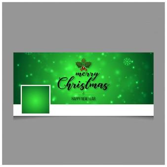クリエイティブなタイポグラフィと緑色の背景を含むクリスマスfacebookのカバー