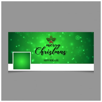 Christmas facebook cover including creative typography and green color background