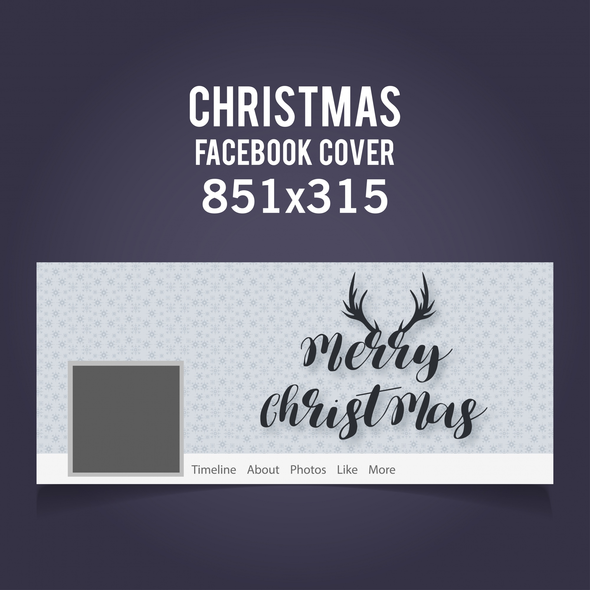 Christmas Facebook Cover including typograhy and horns on light grey background