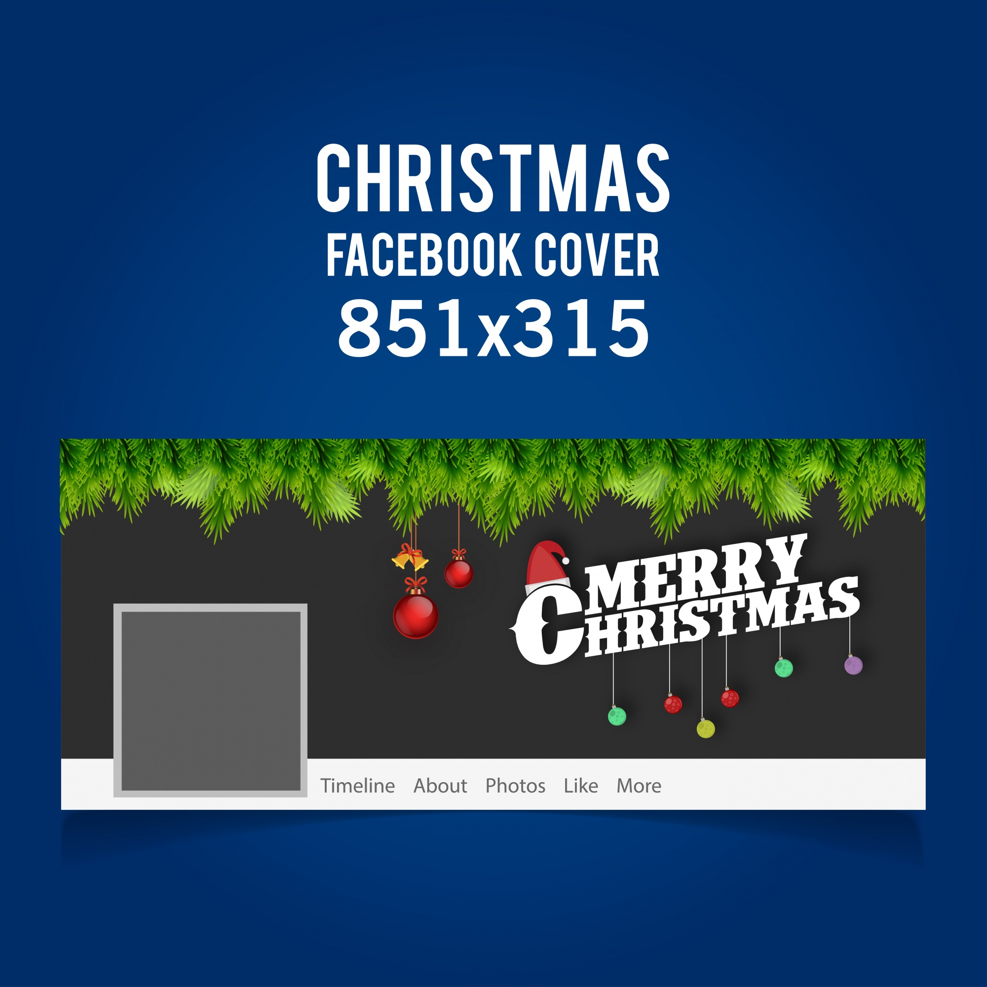 Christmas Facebook Cover including typograhy, hanging balls and bells and grass on dark grey background