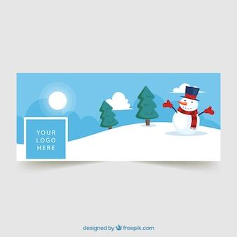 幸せな雪だるまを持つクリスマスのfacebookカバー