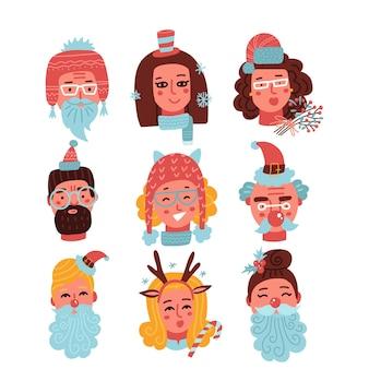 さまざまなサンタの帽子とひげのヘッドポートを持つかわいい幸せな若い女性と男性のクリスマスの顔のセット...
