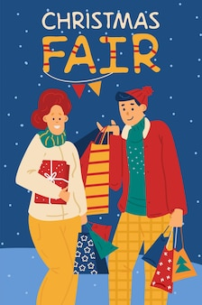 Christmas fair banner with people doing holiday shopping vector illustration