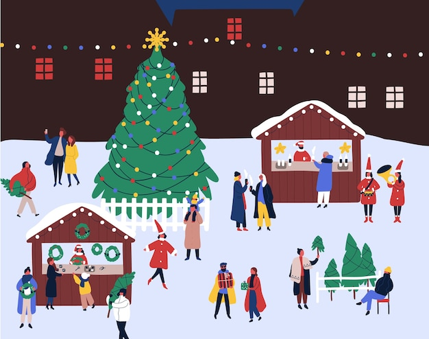 Рождественская ярмарка плоской иллюстрации.