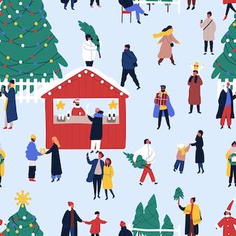 クリスマスフェアフラットベクトルシームレスパターン。