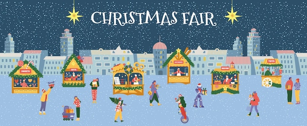 Christmas fair horizontal vector banner. winter night cityscape with people and shops.