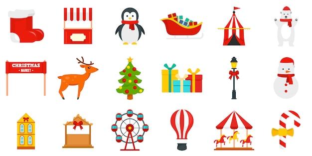 Christmas fair icon set